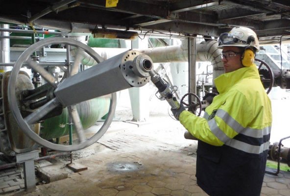 Power Wrench used on a large bypass gate valve